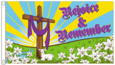 Easter Cross Rejoice & Remember 5'x3' Flag